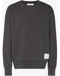 Thom Browne Garment-dyed Loopback Cotton Sweatshirt - Grey