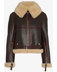 Acne Studios Midsize Shearling And Leather Aviator Jacket - Brown
