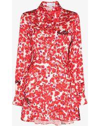 Natasha Zinko Floral Print Shirt Dress - Red