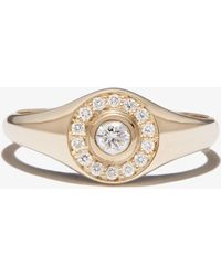 Zoe Chicco 14k Yellow Diamond Signet Ring - Metallic