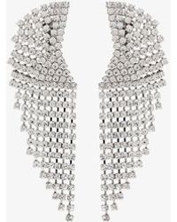 Alessandra Rich Cascade Crystal Clip Earrings - Metallic