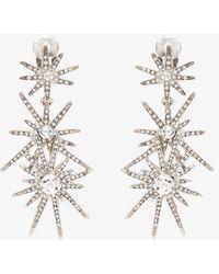 Kenneth Jay Lane Silver-tone Crystal Clip Earrings - Metallic