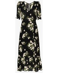 Reformation Celeste Floral-print Midi Dress - Black