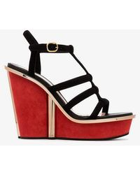 Alexander McQueen - Contrast Wedge Sandals - Lyst