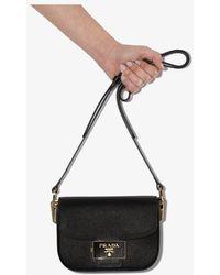 Prada Saffiano Emblem Shoulder Bag - Black