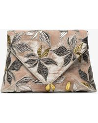 Dries Van Noten - Floral Jacquard Envelope Velvet Clutch Bag - Lyst