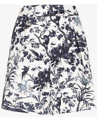 Erdem White Howard Printed Cotton Shorts