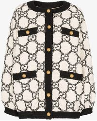 Gucci GG Supreme Knitted Bomber Jacket - White