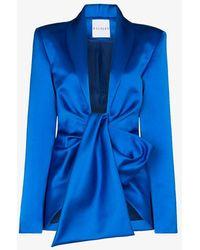 Halpern Tie Front Draped Blazer - Blue