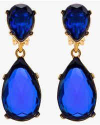 Kenneth Jay Lane Teardrop Clip On Earrings - Blue