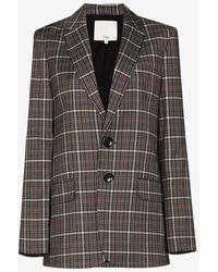 Tibi Checked Button-up Blazer - Grey