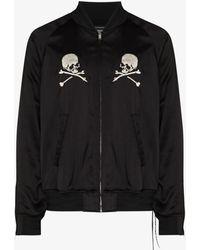 Mastermind Japan Mastermind World Embroidered Silk Bomber Jacket - Black