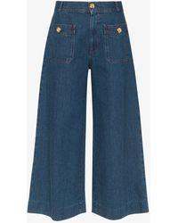 Gucci Womens Blue High-waisted Denim Culottes