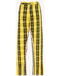 Kenneth Ize Jojo Check Fringed Trousers - Yellow