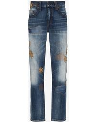 True Religion Rocco Patch Embroidered Skinny Jeans - Blue