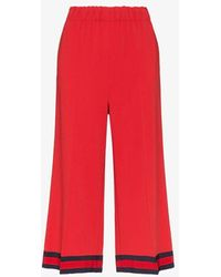 Gucci Ribbon Trim Culotte Trousers - Red