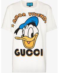 Gucci X Disney Donald Duck Cotton T-shirt - White