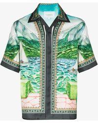 CASABLANCA X Browns 50 Lake View Silk Shirt - Blue