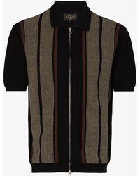Beams Plus Striped Knit Polo Shirt - Black