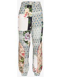 Preen By Thornton Bregazzi Eimi Patchwork Silk Blend Trousers - Blue