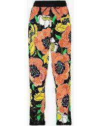 Ashish Floral Sequinned Track Pants - Black