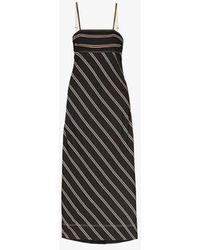 Lee Mathews Lee Mathews Madox Striped Maxi Dress - Black
