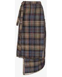 Y. Project Asymmetric Check Midi Skirt - Blue