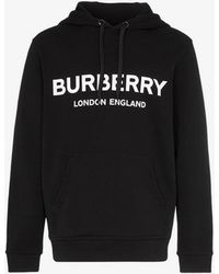 Burberry Logo Hooded Sweatshirt - Black