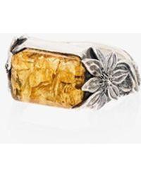 Lyly Erlandsson Sterling Flower Stone Ring - Metallic