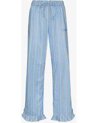 Ganni Software Striped Cotton Pyjama Bottoms - Blue