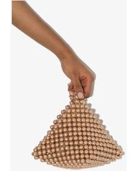 Vanina Rose Gold Le Bourgeon Pearl Clutch Bag - Pink