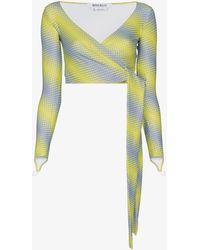 Maisie Wilen Diagonal Print Wrap Top - Yellow