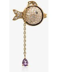 Yvonne Léon 18k Yellow Gold Hanging Diamond Fish Earring - Metallic