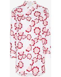 Moncler Genius X Simone Rocha Floral Embroidered Cotton Shirt - White