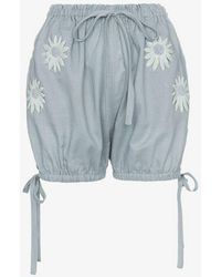 Innika Choo Embroidered Daisy Bloomer Shorts - Gray
