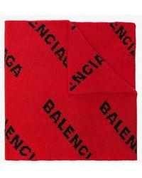 Balenciaga - Logo Knit Virgin Wool Scarf - Lyst