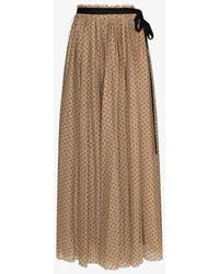 STAUD Poppy Polka Dot Flared Skirt - Brown