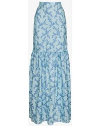 The Vampire's Wife Floral Print Maxi Skirt - Blue