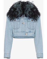 Prada Denim Jacket With Ostrich Feather Trim - Blue