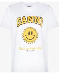 Ganni Smiley Sun T-shirt - White