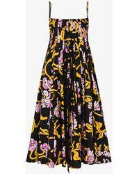 Marni - Graphic-print Pleated Midi Dress - Lyst