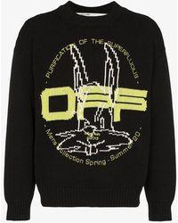 Off-White c/o Virgil Abloh Harry The Bunny Intarsia Knit Jumper - Black
