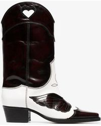 Ganni - 50mm Marlyn Shiny Leather Cowboy Boots - Lyst