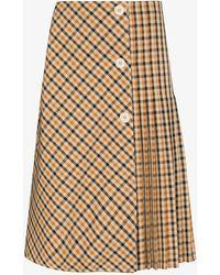 Wales Bonner Kalimba Plaid Midi Skirt - Brown