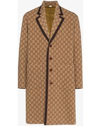 Gucci GG Motif Single-breasted Coat - Brown