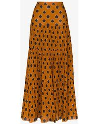 Johanna Ortiz Tiered Printed Cotton-voile Maxi Skirt - Brown
