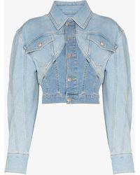 Mugler Cropped Denim Jacket - Blue