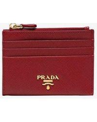 Prada Red Saffiano Zip Leather Cardholder