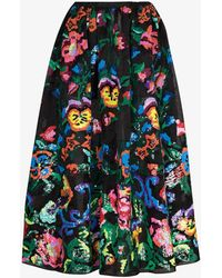 Ashish Floral Sequin Full Skirt - Black