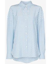 Tibi Button-up Gingham Shirt - Blue